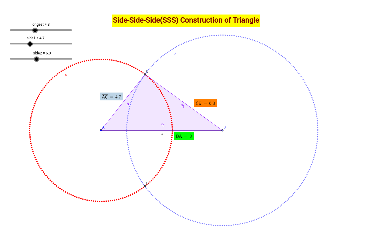 SSS construction of Triangle GeoGebra – Constructing Triangles Worksheet