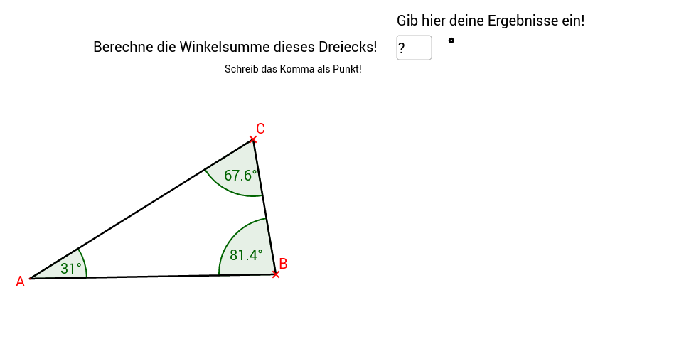 Die Winkelsumme im Dreieck 1