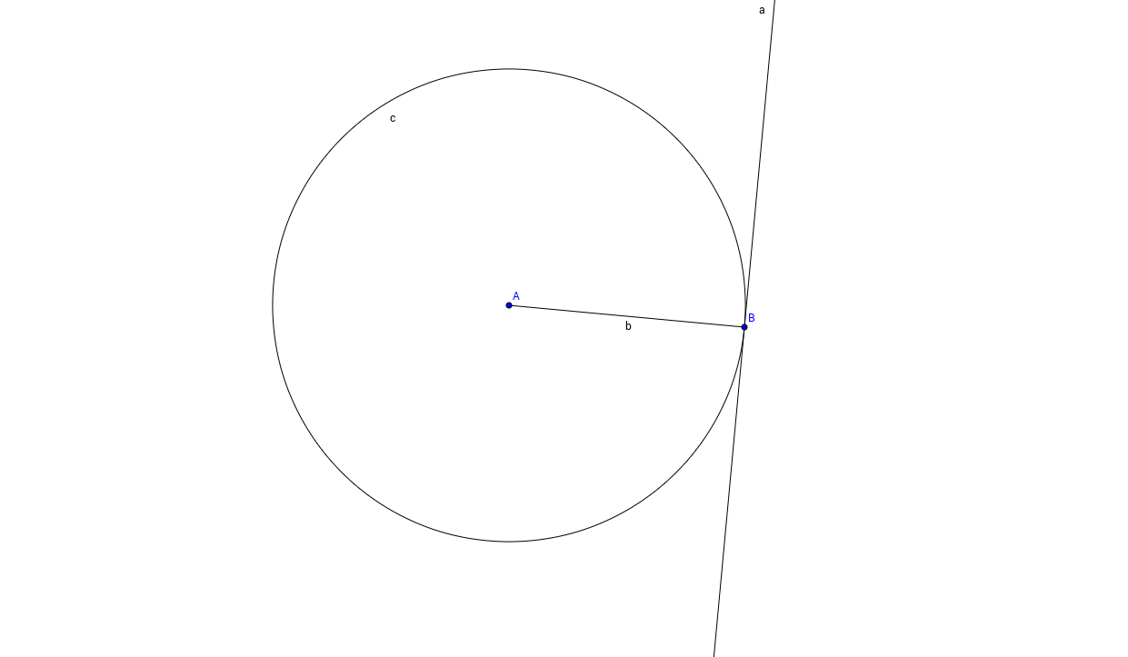 Circle and tangent with a radius