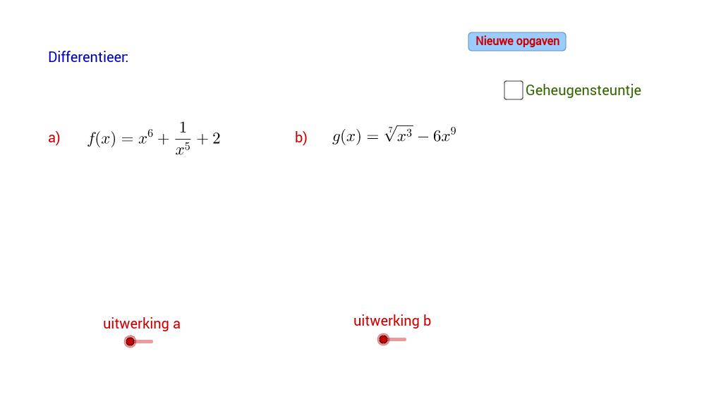 Afgeleide van functies met negatieve of gebroken macht