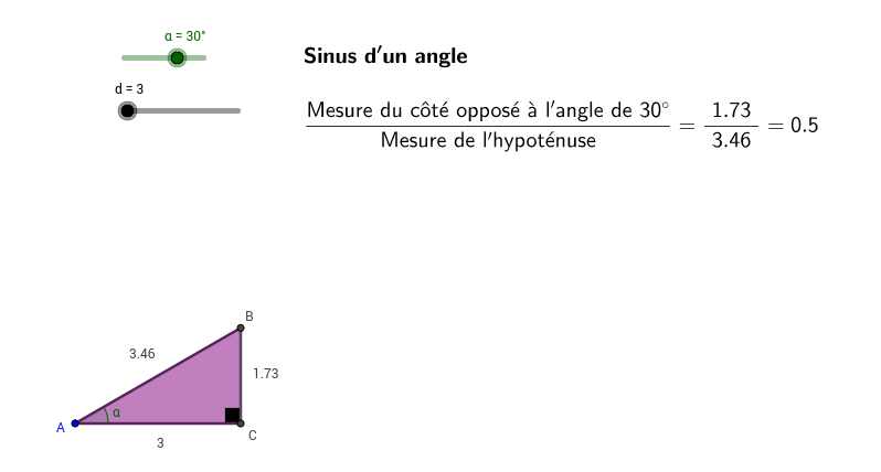 Exploration du sinus d'un angle
