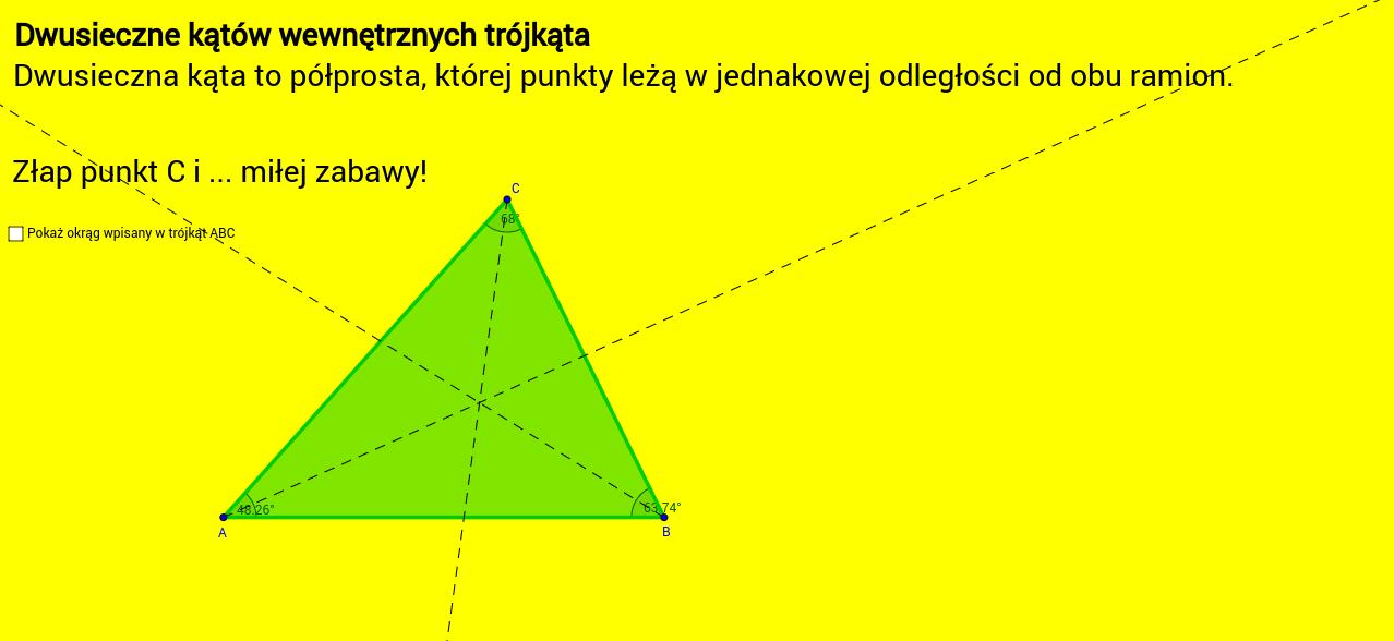 Okrąg wpisany w trójkąt.