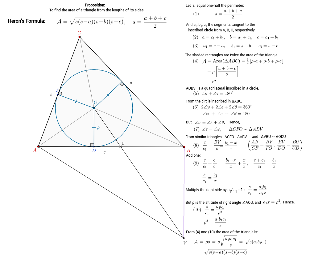 Heron's Formula, Geometric Proof