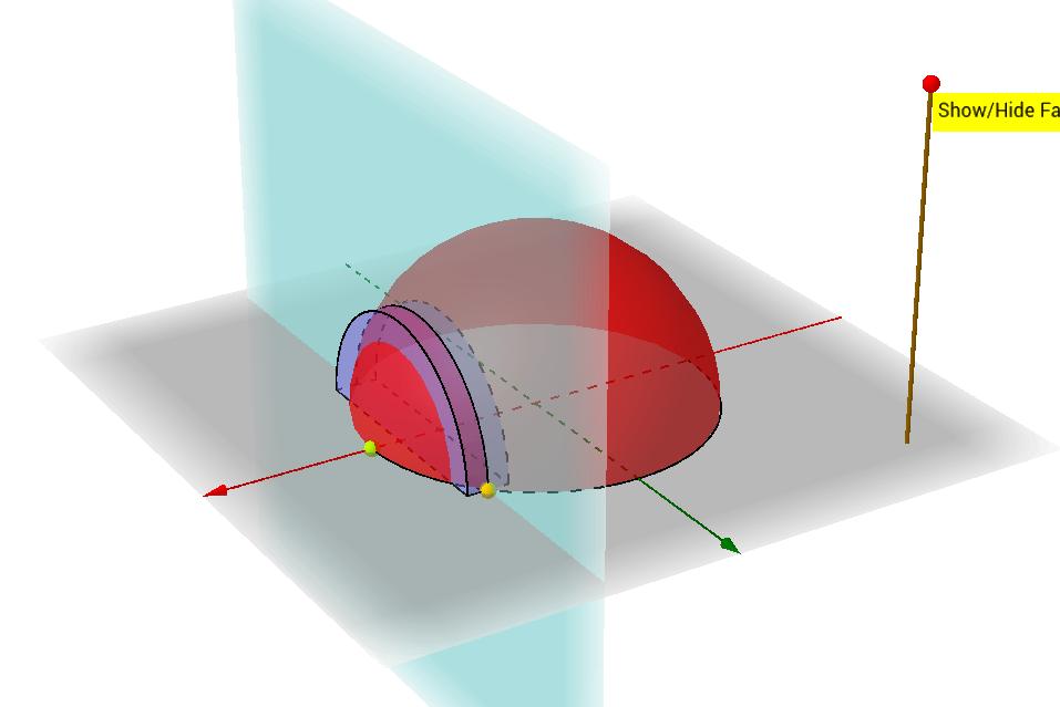 底圖為圓,截面為半圓