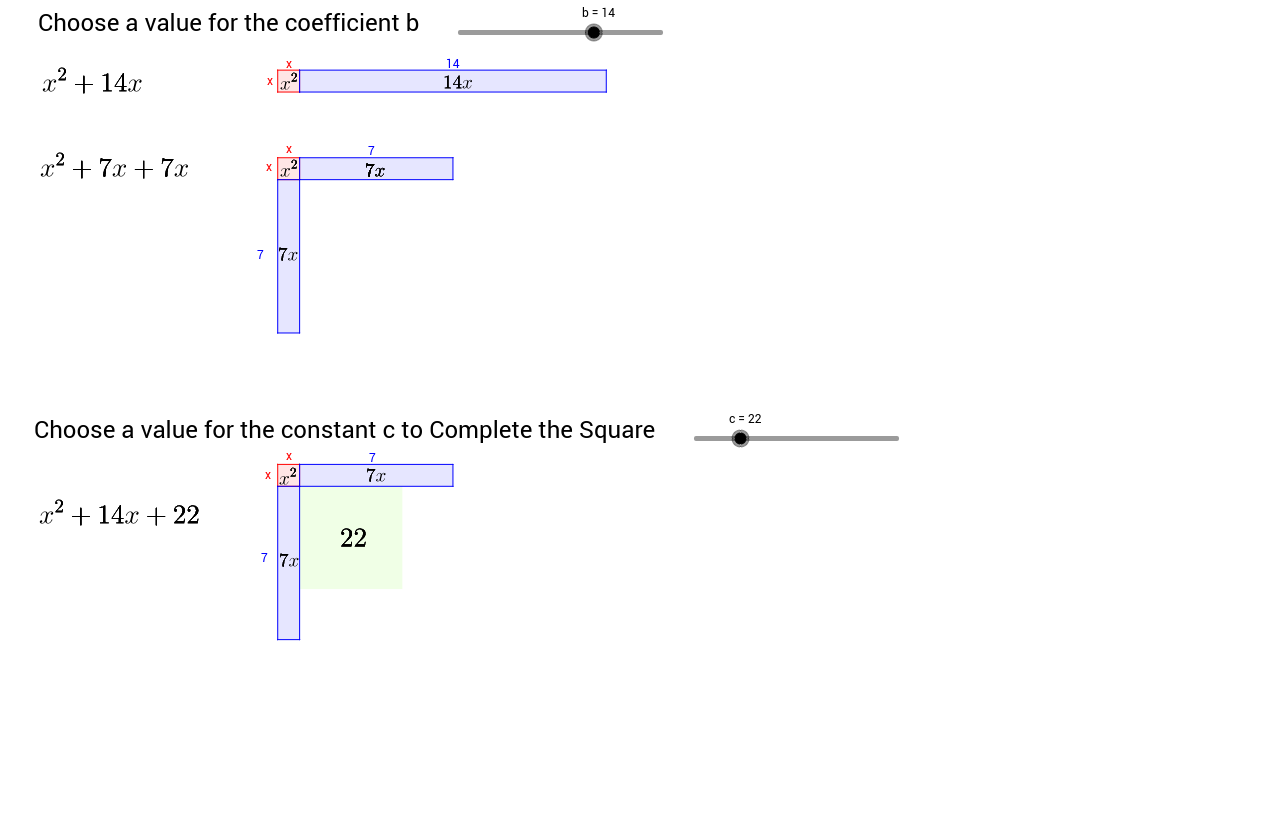 Worksheets Complete The Square Worksheet completing the square visualisation geogebra