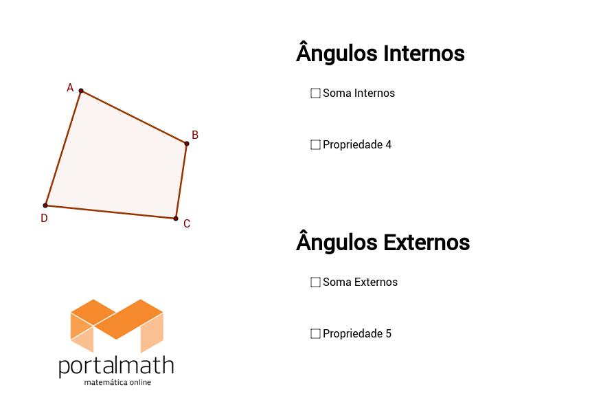 Quadrilátero - Ângulos Internos / Externos (Propriedades)