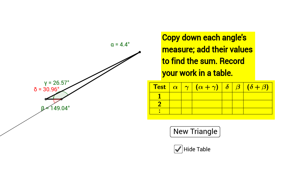 ... The Exterior Angle, Is Supplementary To Interior Angle β: Can You  Discover This Rule? You Can Move The Labels α, β, And γ With Your Mouse To  Read.