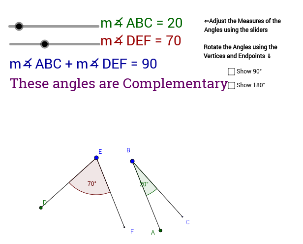 Complementary and Supplementary Angles GeoGebra – Complementary and Supplementary Angles Worksheets
