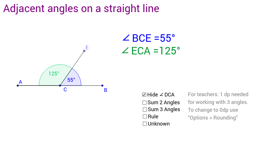 Rule 1: Adjacent angles on a straight line