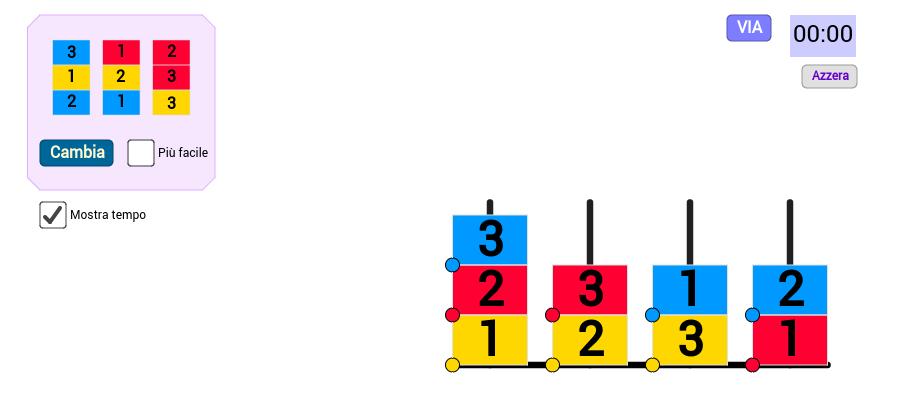 Gioco: disposizione di numeri e colori