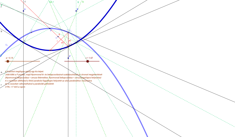 mirascope - egy sugármenet segédvonalakkal