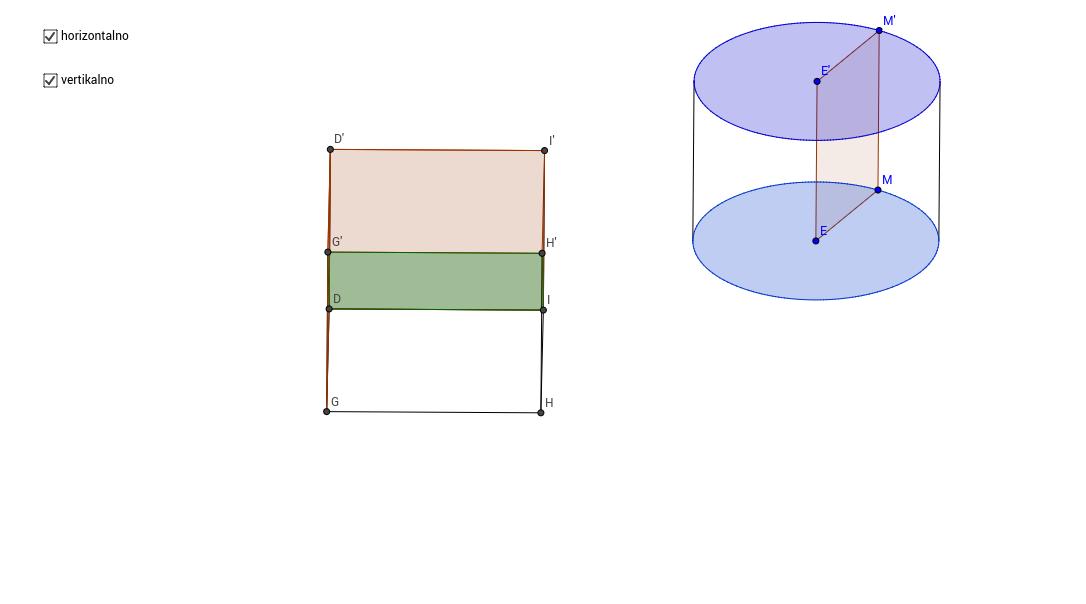 Primer rotacije dva tela u 3D prostoru realizovan u 2D GeoGe