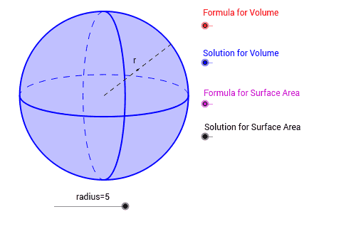 Surface Area Volume Sphere GeoGebra – Volume of Spheres Worksheet