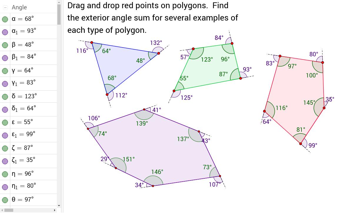 Angles Of Polygons Geogebrabook