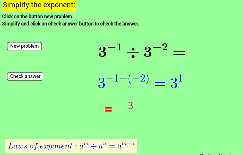 Laws of exponent Practice sheet-1