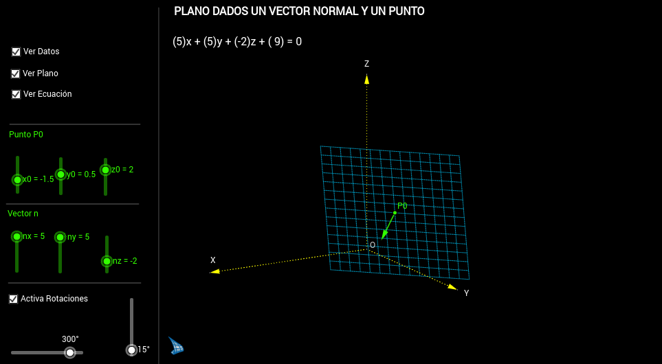 Plano dados un vector normal y un punto