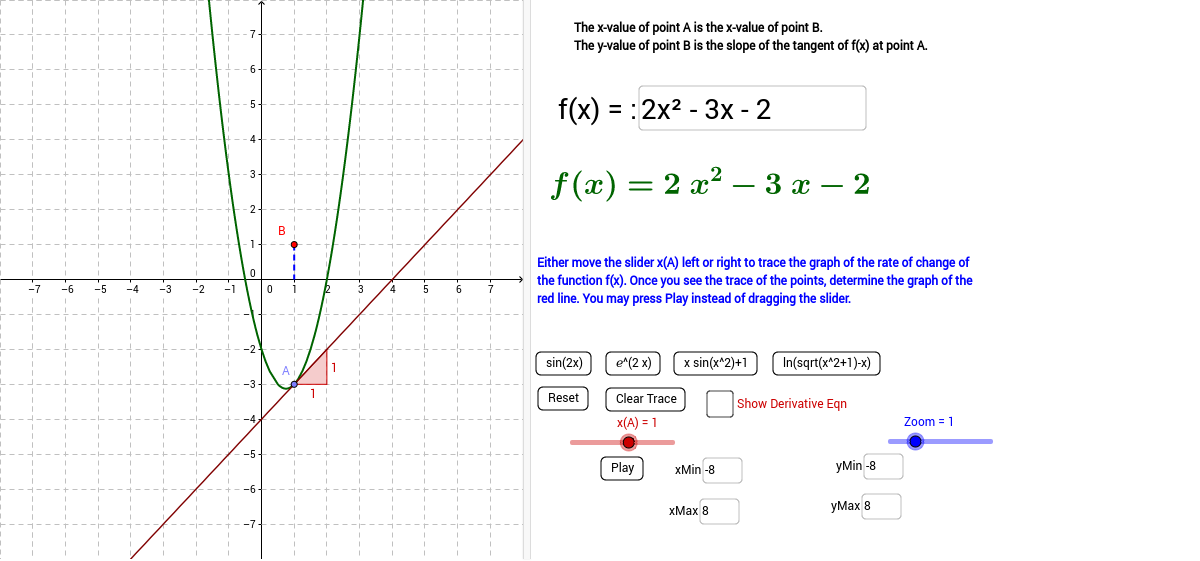 Graphing the slope of a curve's Tangent Line - GeoGebra