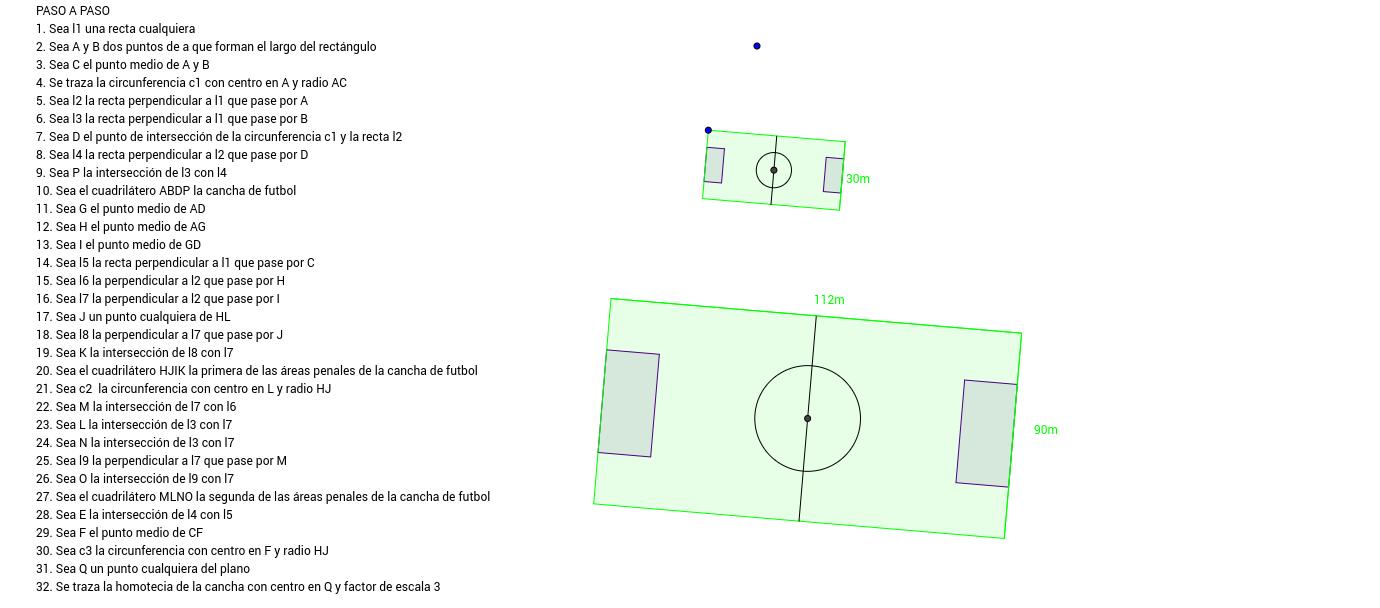construir una cancha de futbol geogebra