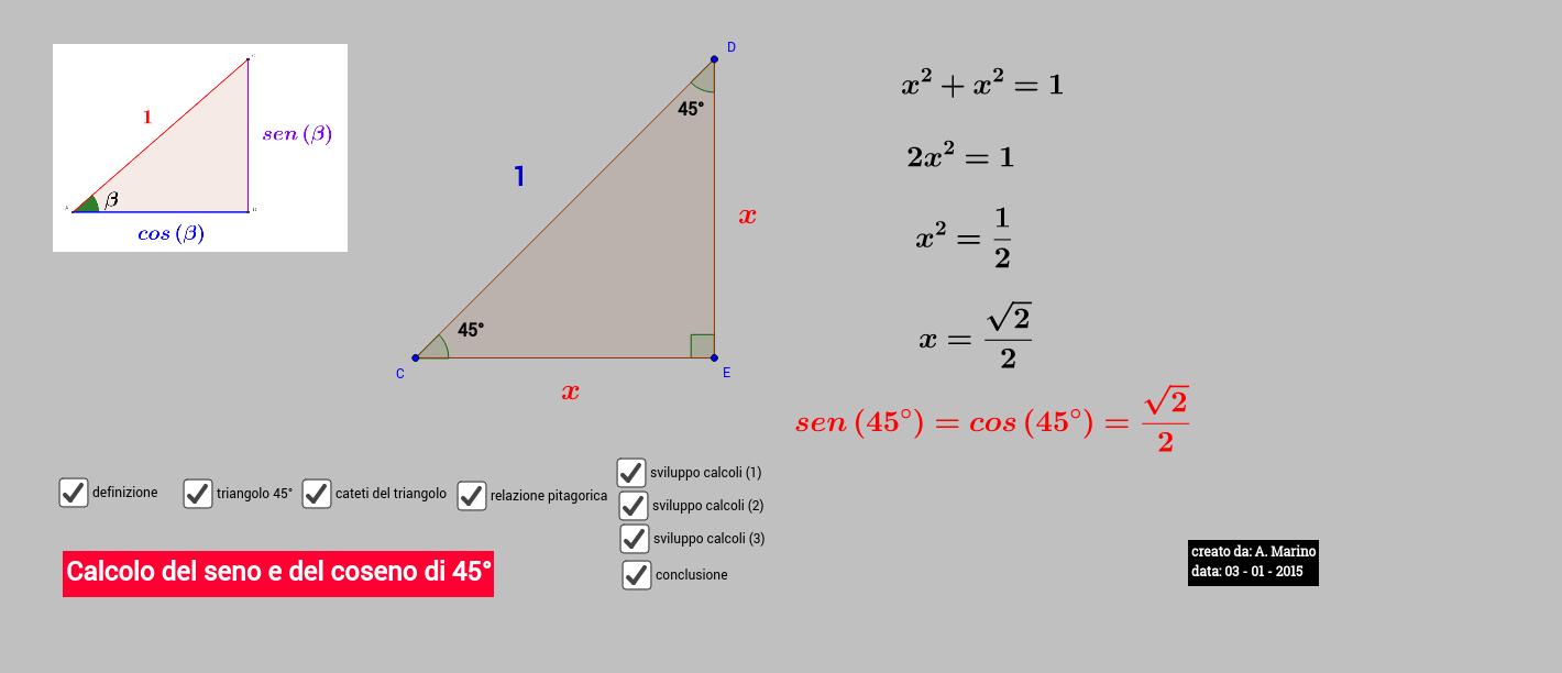 Seno e coseno di 45° (SEM)