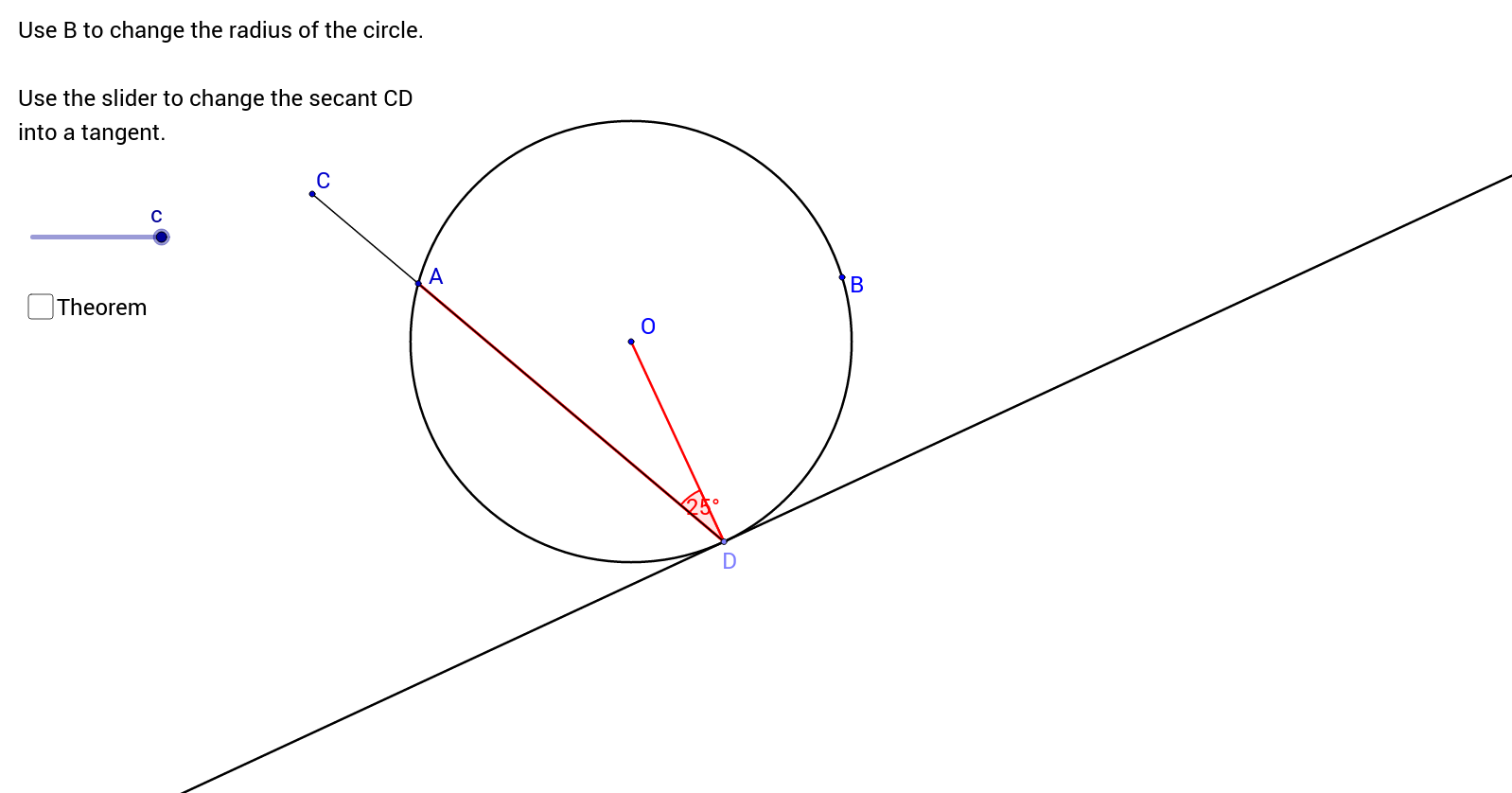 The Angle Between a Tangent and a Radius