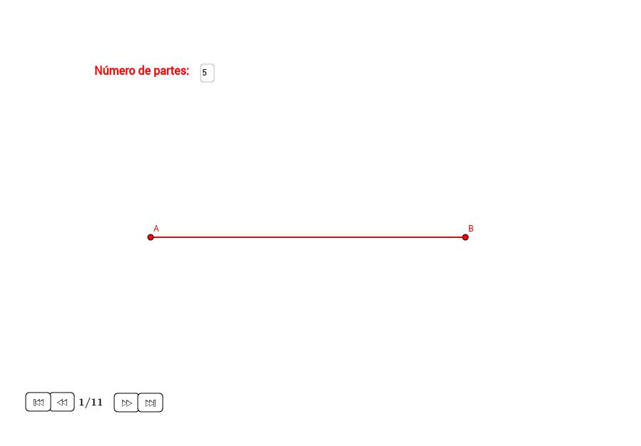Dividir un segmento en partes iguales
