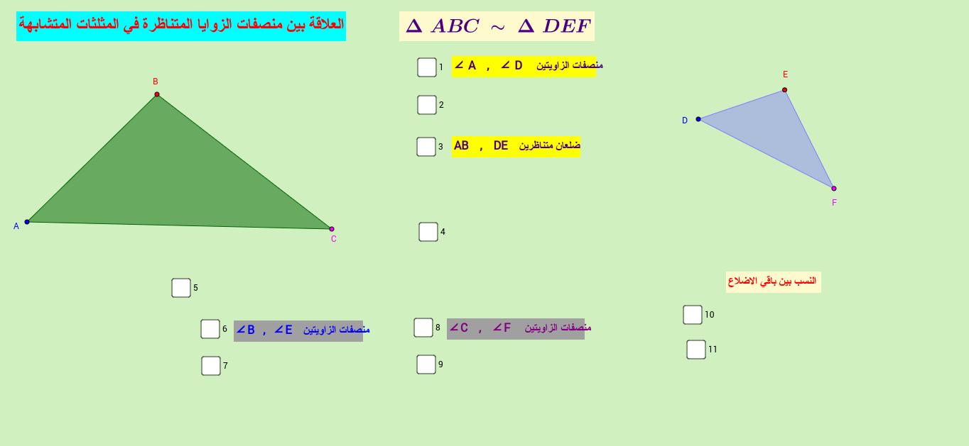 العلاقة بيناطوال منصفات زلويتان متناظرتين في مثلثين متشابهين