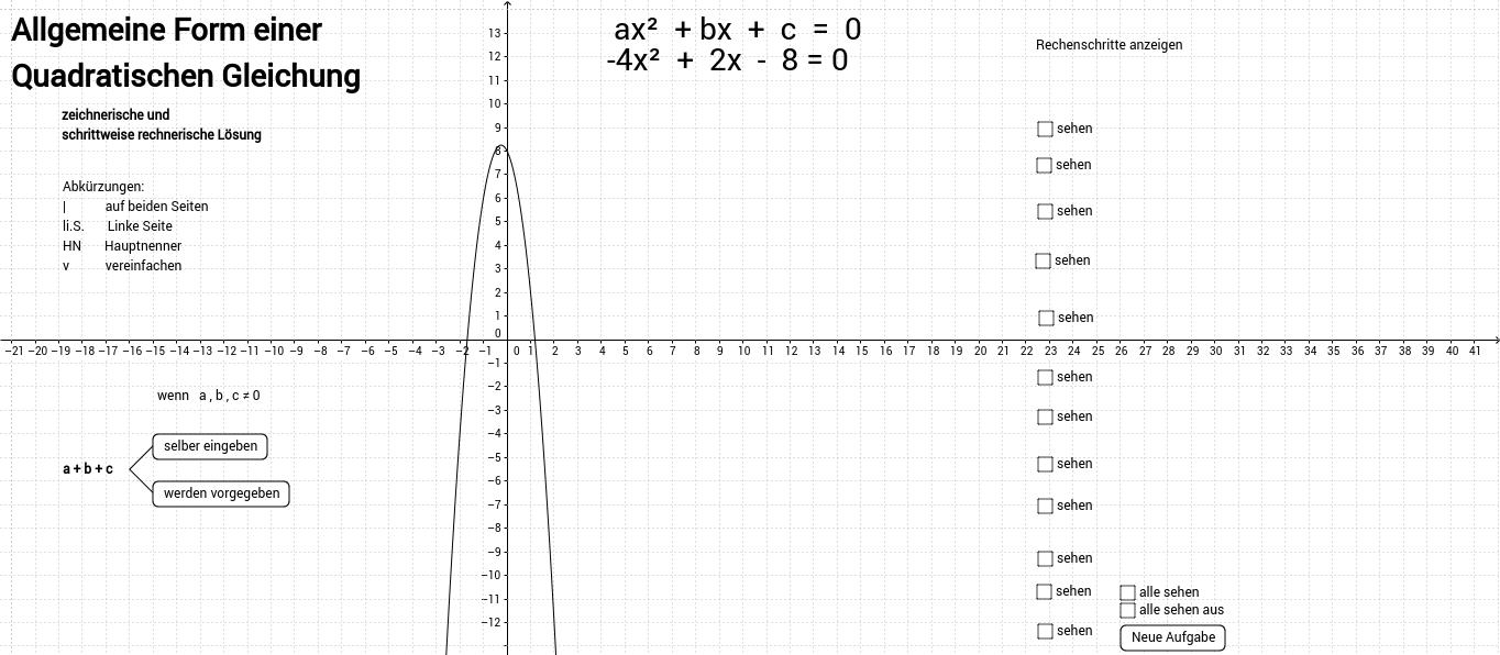 Nullstellenberechnung mittels quadratischer Ergänzung