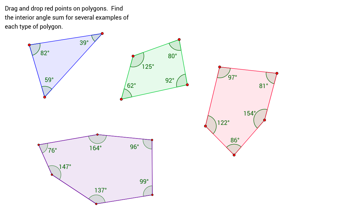 Angles in polygons GeoGebraBook – Interior Angles of Polygons Worksheet