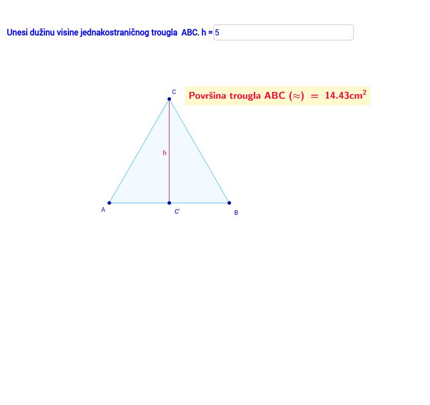 Povrsina jednakostranicnog trougla u zavisnosti od visine másolata