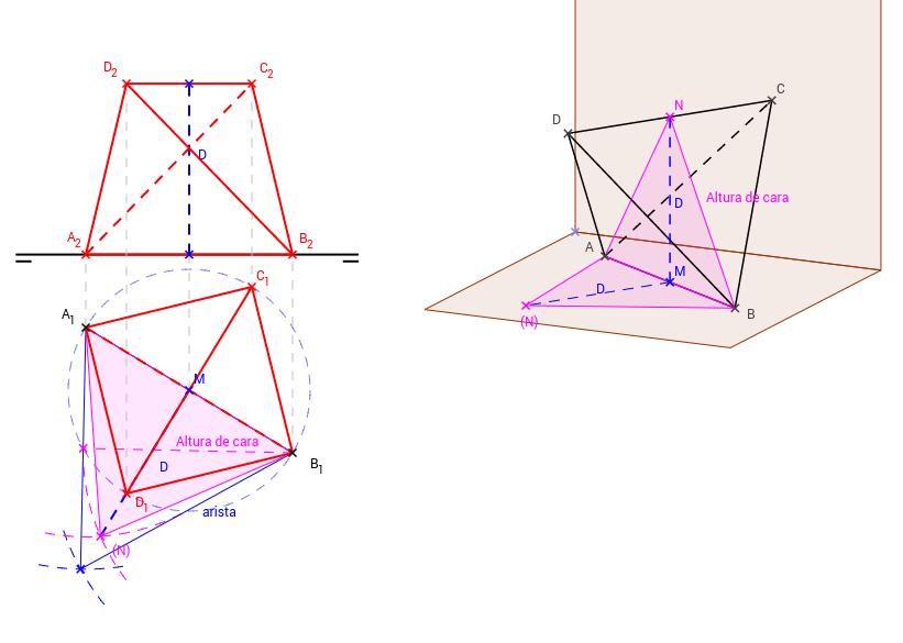 DT2.Diedrico. Poliedros. Tetraedro. Dos aristas // al PH