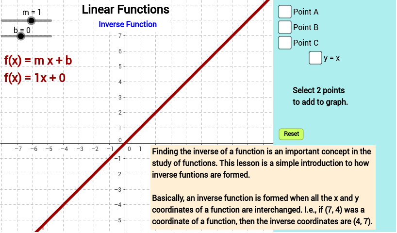 Linear Functions Inverse Function GeoGebra – Inverse Functions Worksheet