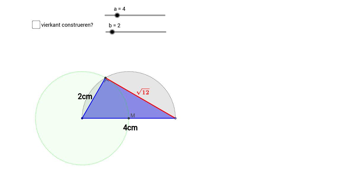 h) B een vierkant construeren met gegeven oppervlakte