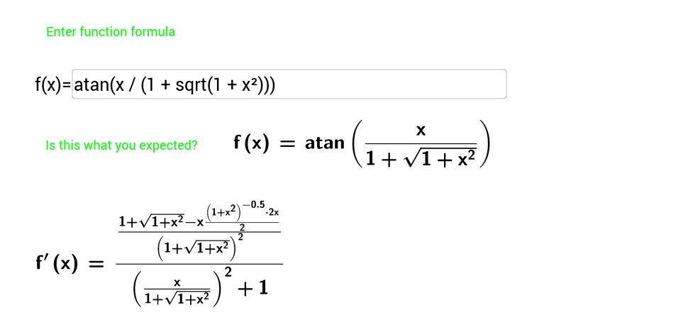 Derivative calculation for beginners