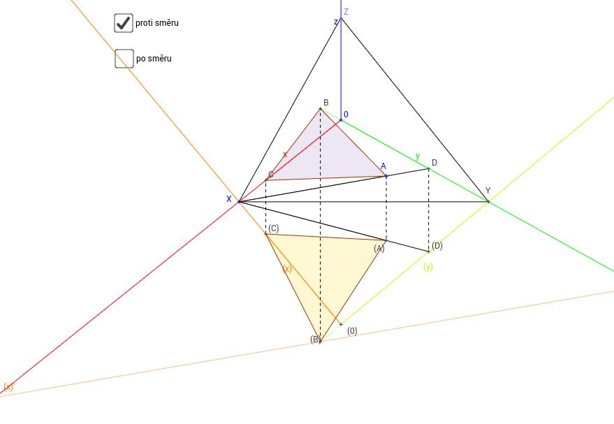 Axonometrie - rovnostranný trojúhelník v půdorysně I