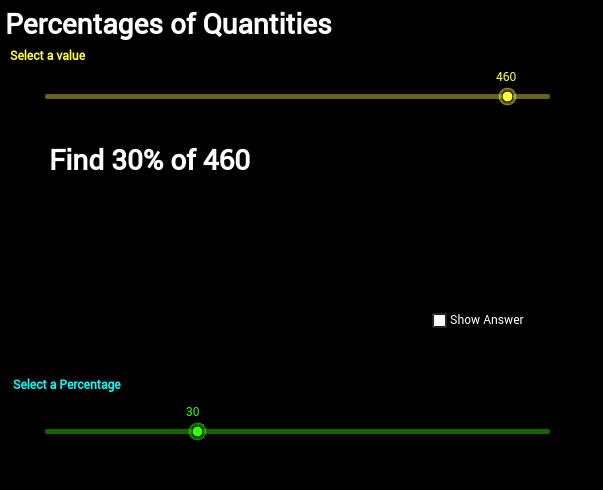 Percentages of a quantity