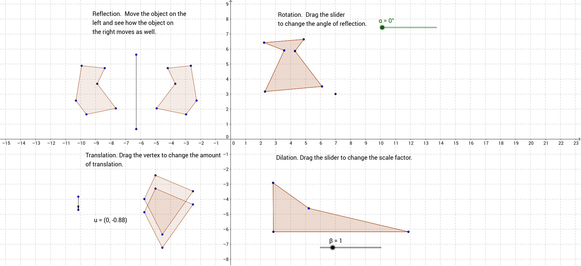 worksheet Translations Geometry Worksheets geometric transformations geogebra