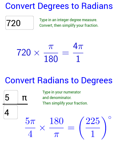 Explore Converting Between Degrees and Radians
