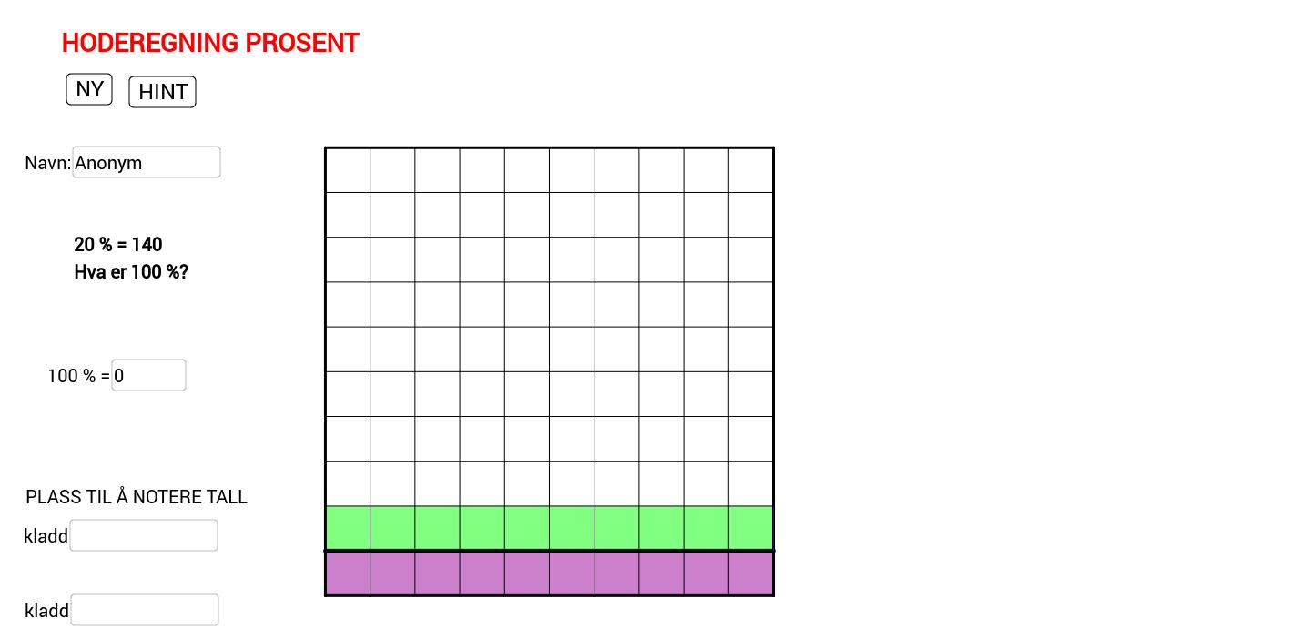 Prosent hoderegning - finn 100 % - lette tall