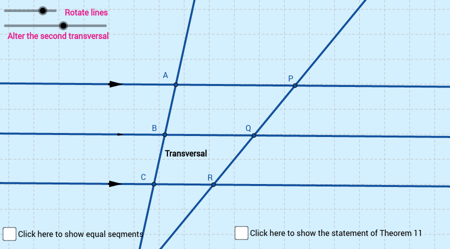 Theorem 11: Transversal and 3 parallel lines