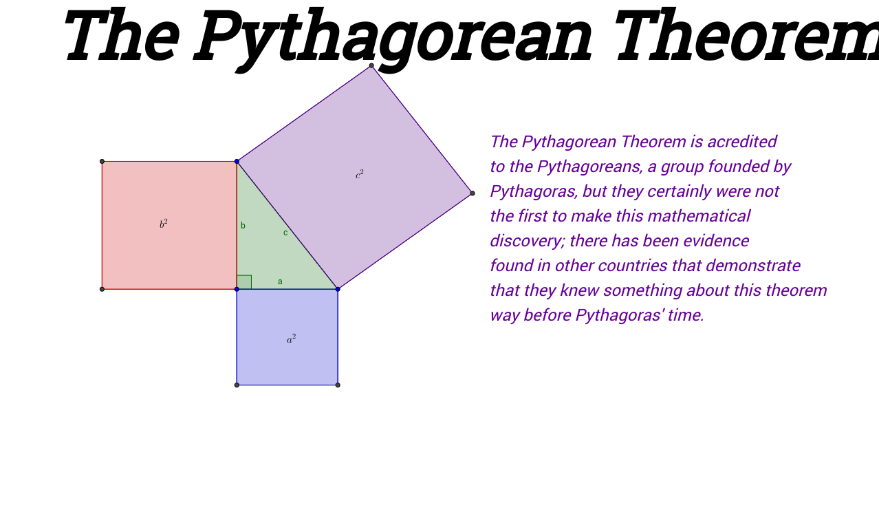 Pythagorean Theorem: Proofs Without Words