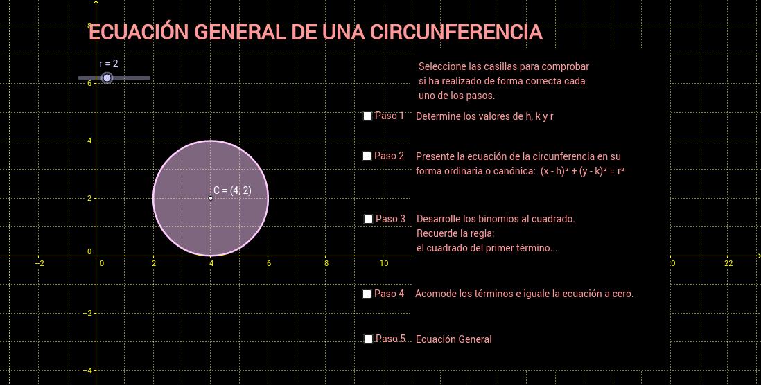 Ecuación General de una Circunferencia