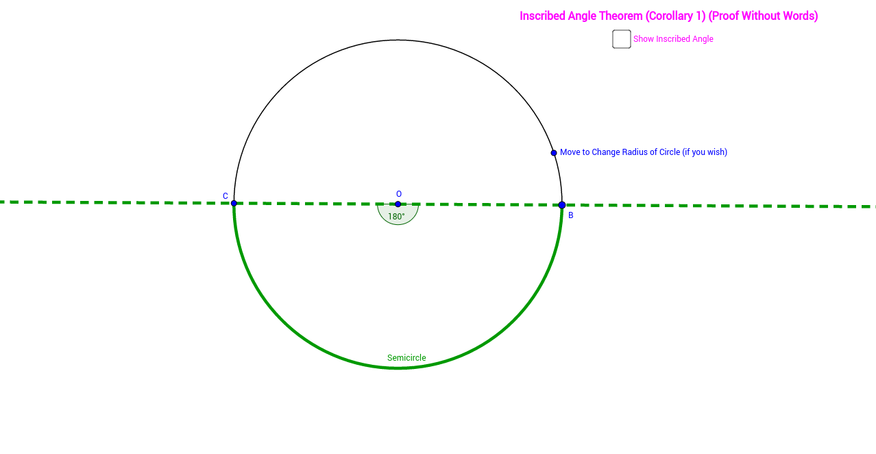 Inscribed Angle Theorem (Corollary 1) (Proof without Words)