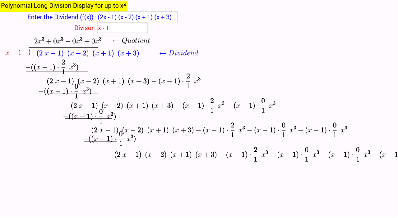 worksheet Division Of Polynomials Worksheet polynomial long division in action up to x4 geogebra