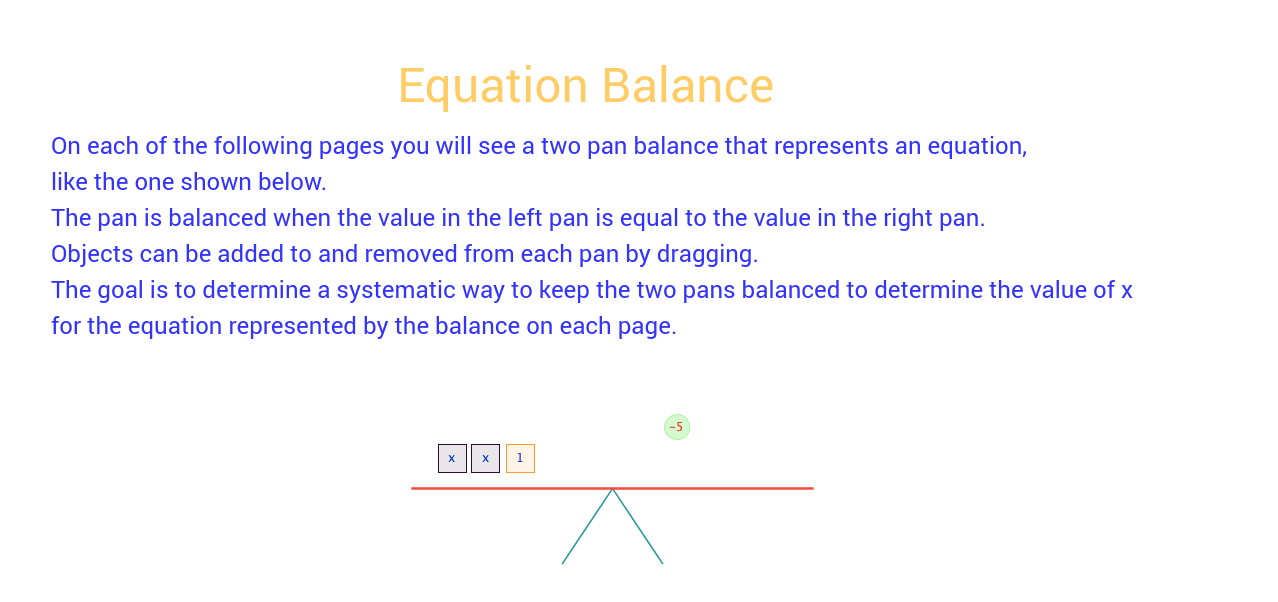 Equation Balance Instructions