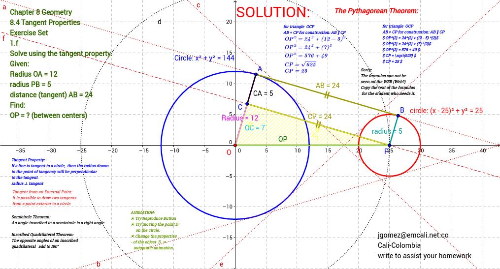 MATHEMATICS and Geometry 9 : 8.4 Tangent Properties: 1.f