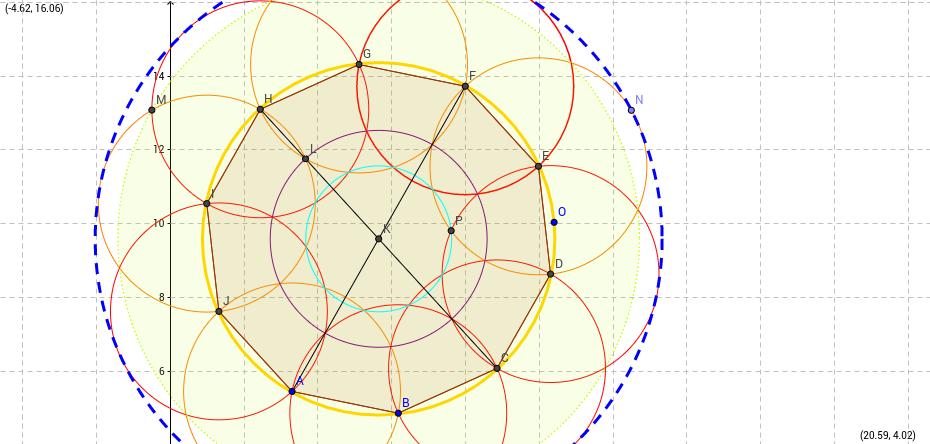 decagono, utilizando los elementos geometricos