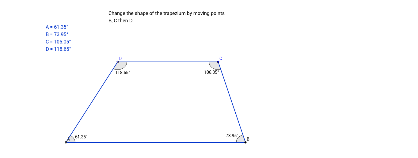 See the angles in a Trapezium