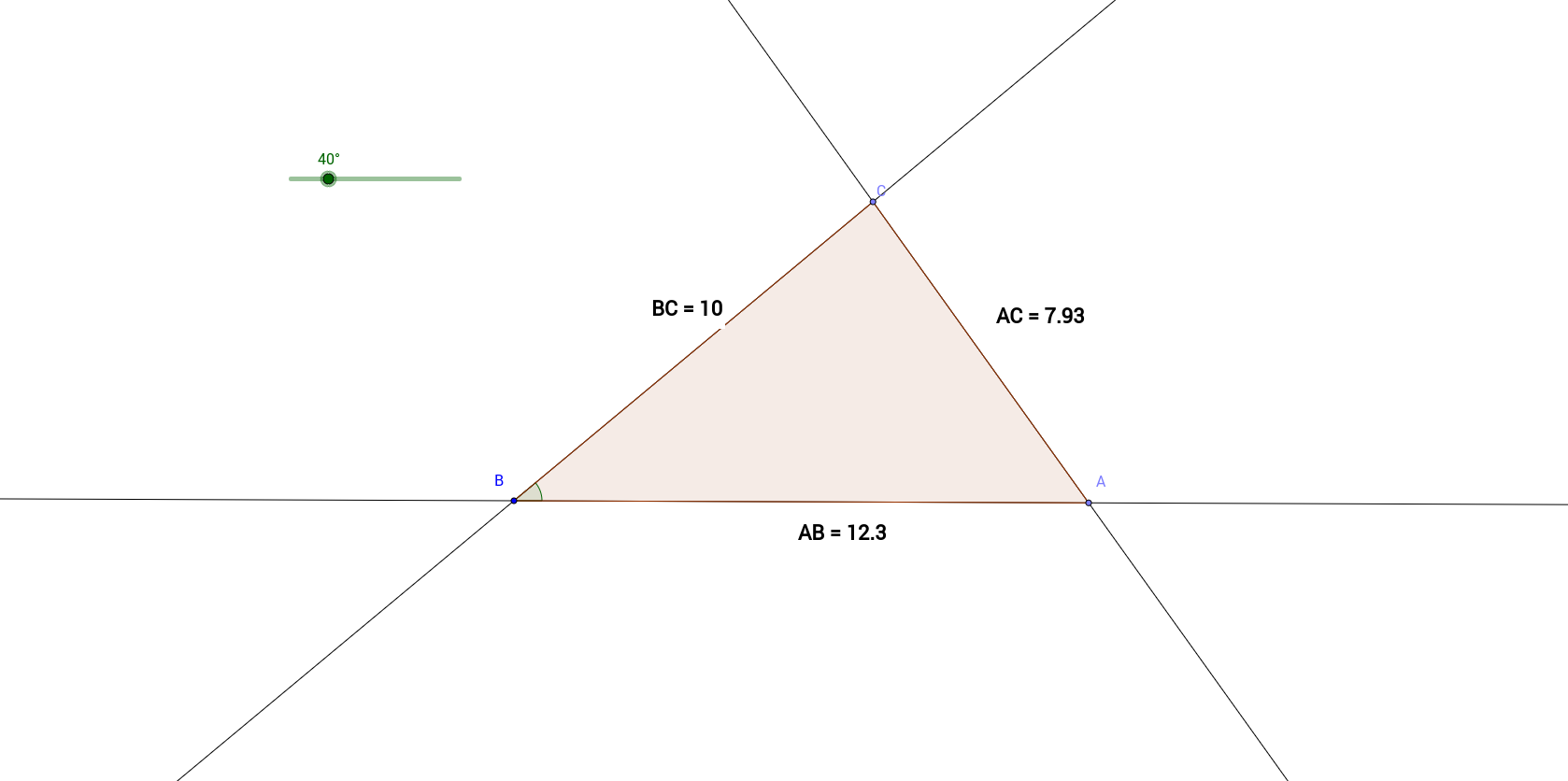 Possible length of the third side of a triangle