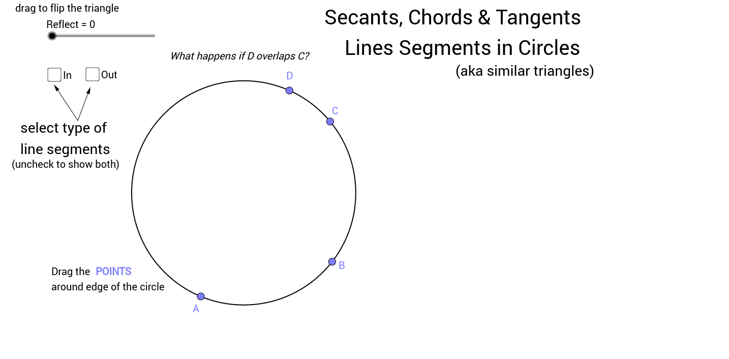 Chord Secant And Tangent Line Segments With Circles Geogebra