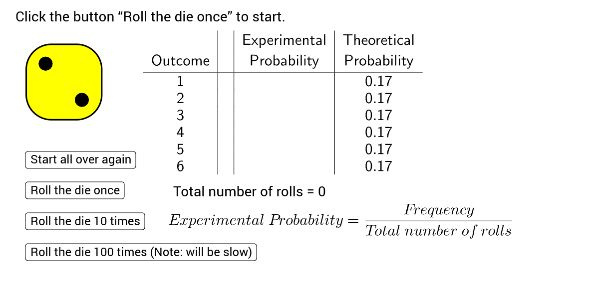 Introduction to Probability The Rolling of a Die GeoGebra – Experimental Probability Worksheet